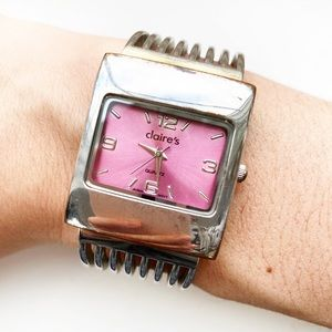 Vintage Claire's silver & pink cuff watch